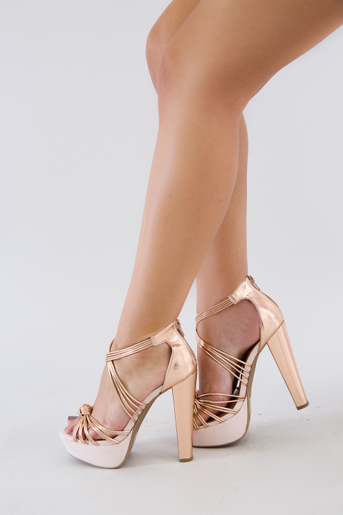 Metallic Open Toe Chunky Platform Heel