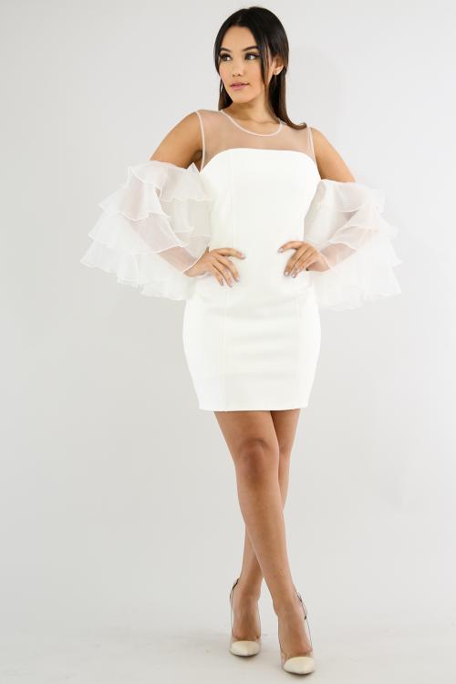 Elegance Sheer Sleeve Body-Con Dress