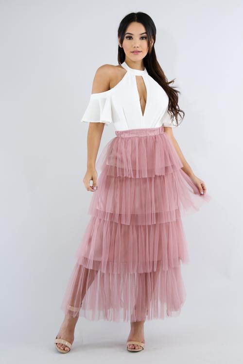 Flare Tull Maxi Skirt