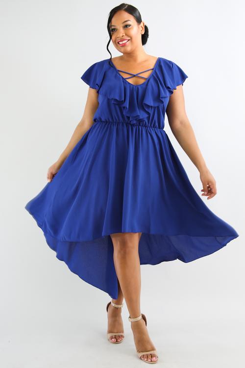 Surplice High Low Maxi Dress