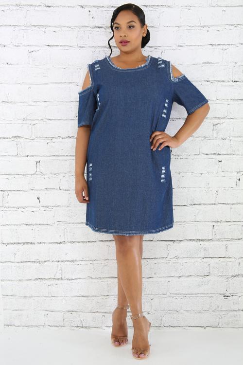 Distressed Cold Shoulder Denim Dress