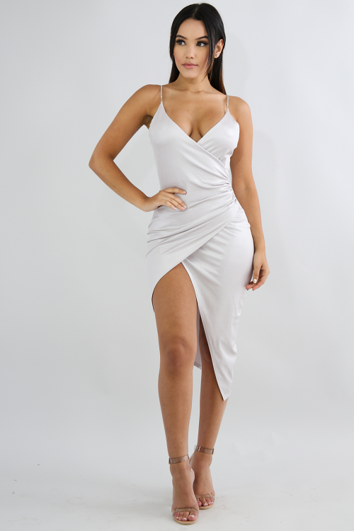 Scrunched Chain Body Con Dress