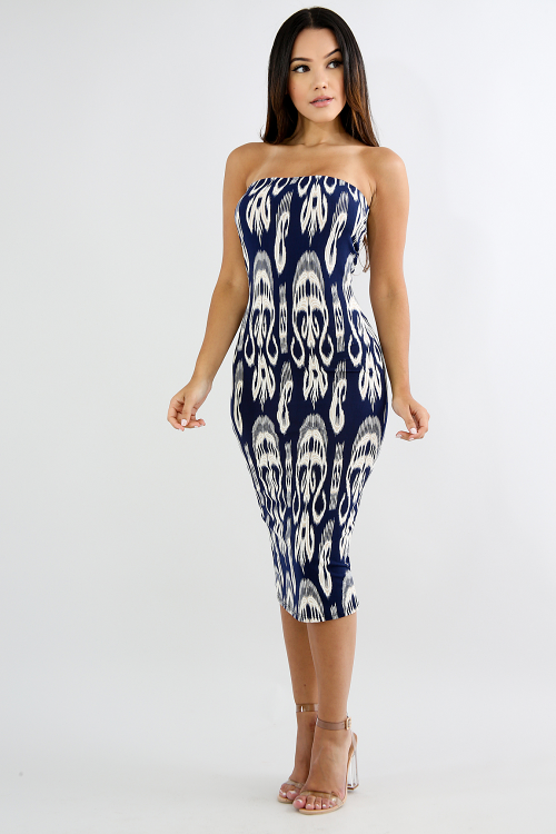Textured Noir Tube Body-Con Dress