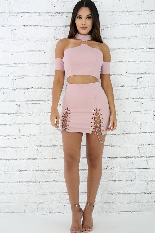 Eyelet Corset Mini Skirt Set