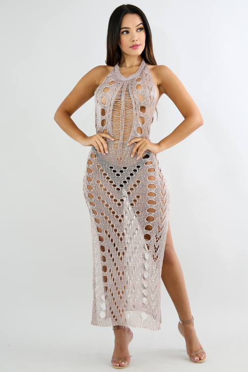 Distressed Slit Metallic Dress