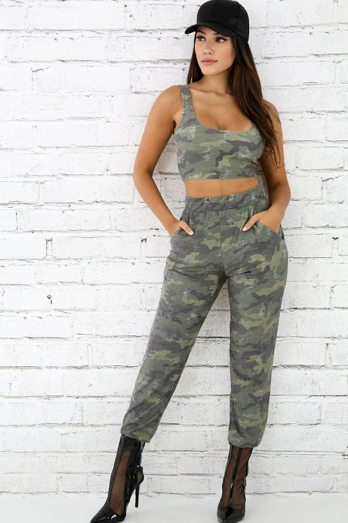 Distressed Camouflage Jogger Set