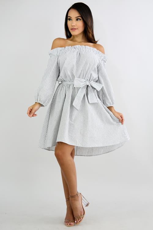 Striped Pleated Denim Dress