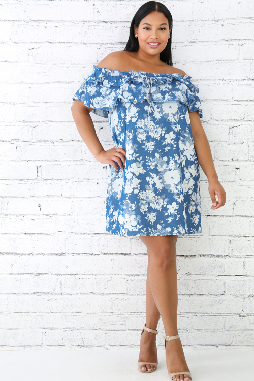 Floral Off shoulder Tie Dress