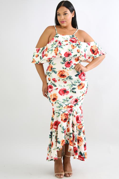 Ruffle Mermaid Maxi Dress
