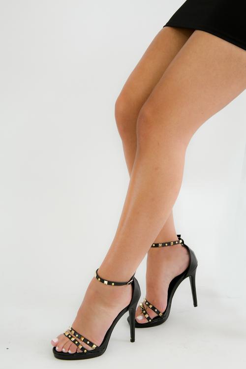 Pearl Stud Open Toe Ankle Strap Stiletto Heel