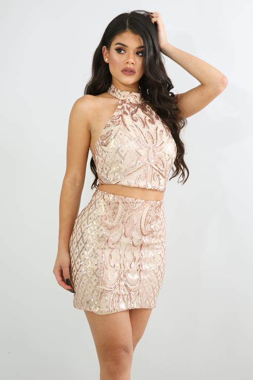 Sheer Sequin Mini Skirt Set