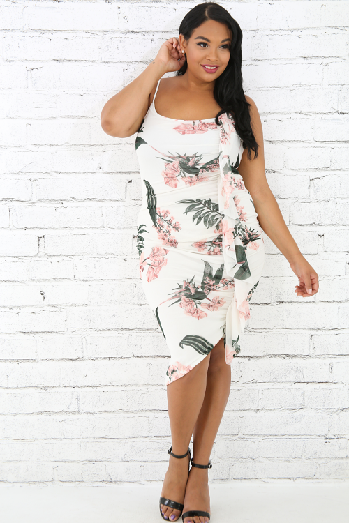 Floral Sheer Scrunched Ruffled Body-Con Dress