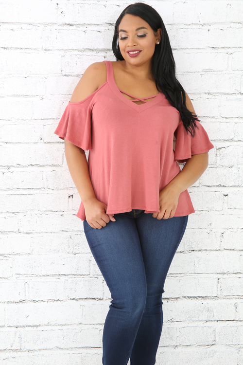 X-Cold Shoulder Jersey Knit Top