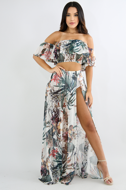 Tropical Slit Maxi Skirt Set