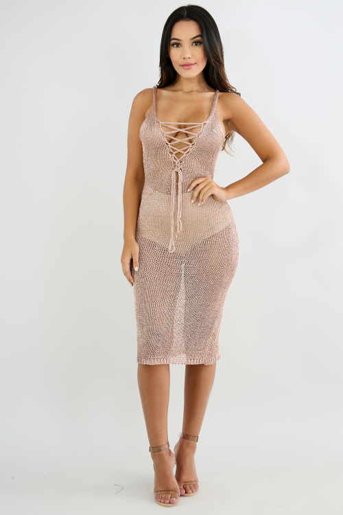 Corset Metallic Maxi Dress