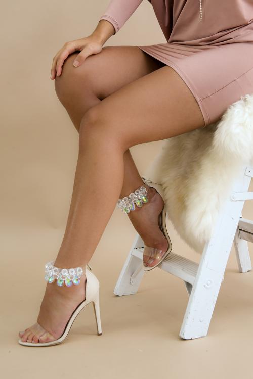 Clear Gemstone Ankle Strap Stiletto Heel