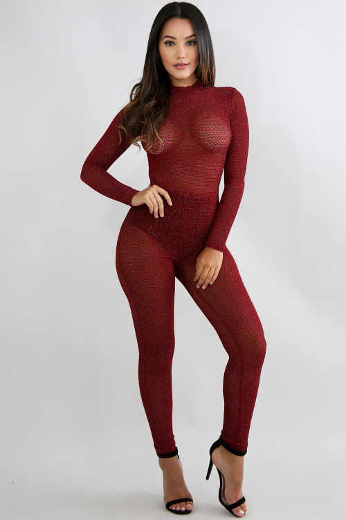 Shimmer Net Jumpsuit