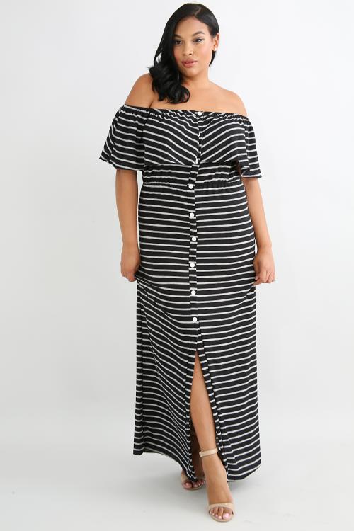 Ruffled Button Maxi Dress