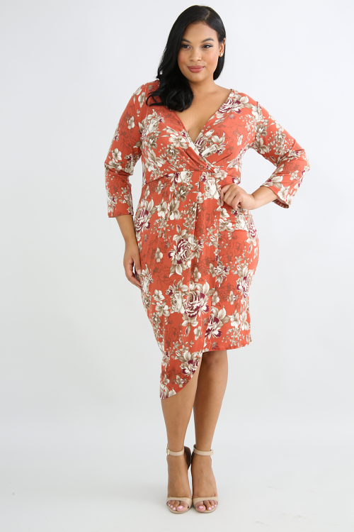 Floral Flannel Body-Con Dress