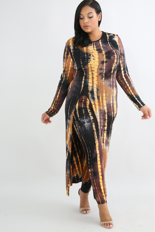 Tie Dye Open Back Slit Maxi Top with High Rise Leggings Set
