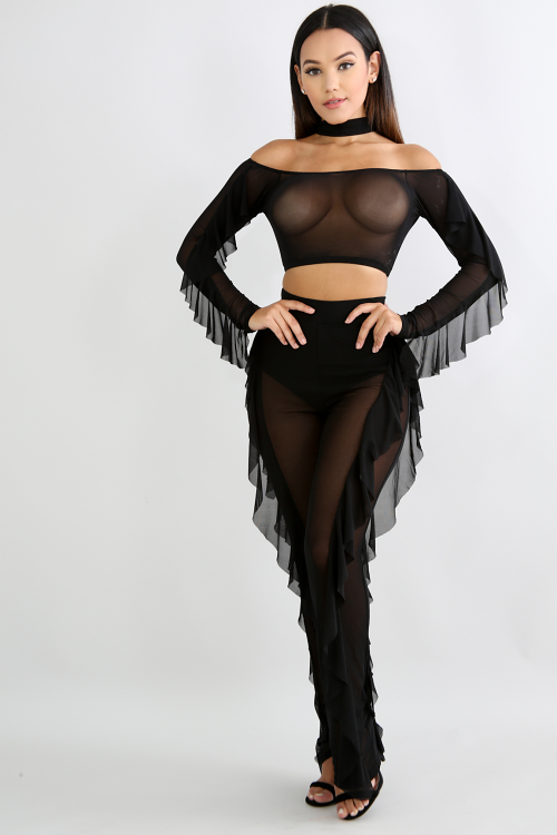 Choker Sheer Tiered Pant Set