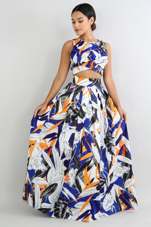 Floral Taffeta Maxi Skirt Set
