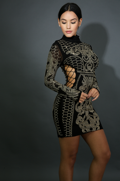 Lace Up Rhinestone Body-Con Dress
