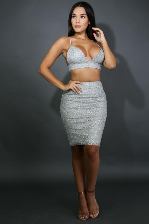 Glitter Diamond Skirt Set