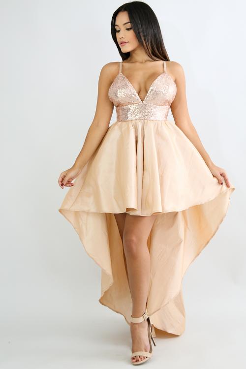 Sequin Shine Long Tail Dress