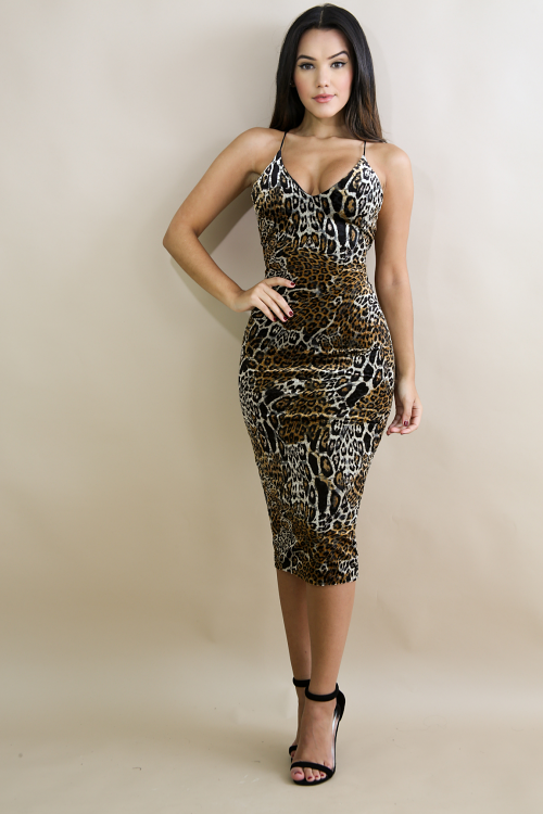 Caged Up Leopard Body-Con Dress