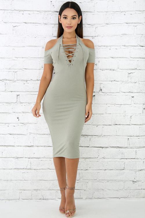 Rib Knit Corset Dress