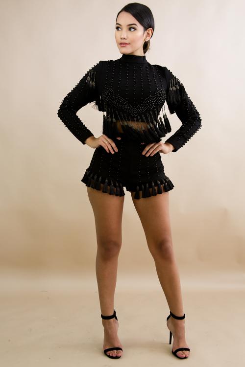 Pearl Stud Tassel Shorts Set