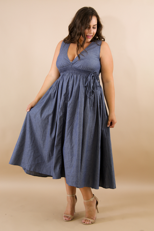 Denim Scrunched Tie Maxi Dress