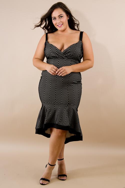 Chevron Flare Body-Con Dress