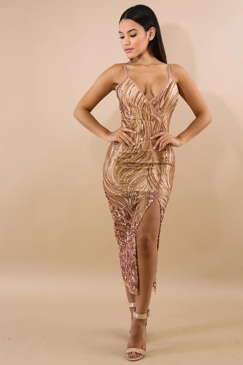 Sequin Dorado Maxi Dress