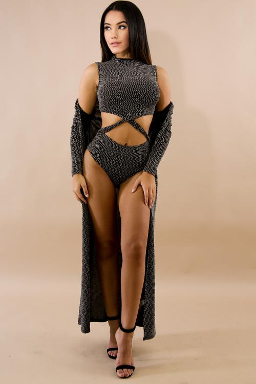 Glitter Knit Bodysuit With Floor Swept Cardigan Set