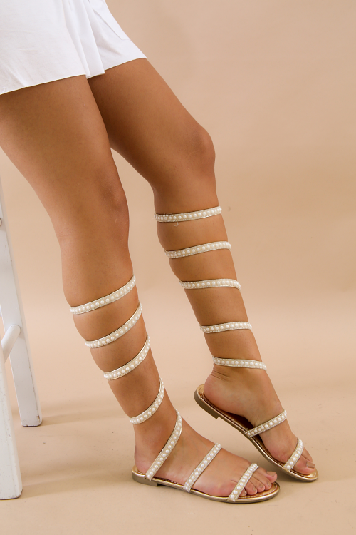 Pearl Coiled Ankle Wrap Flat Sandal