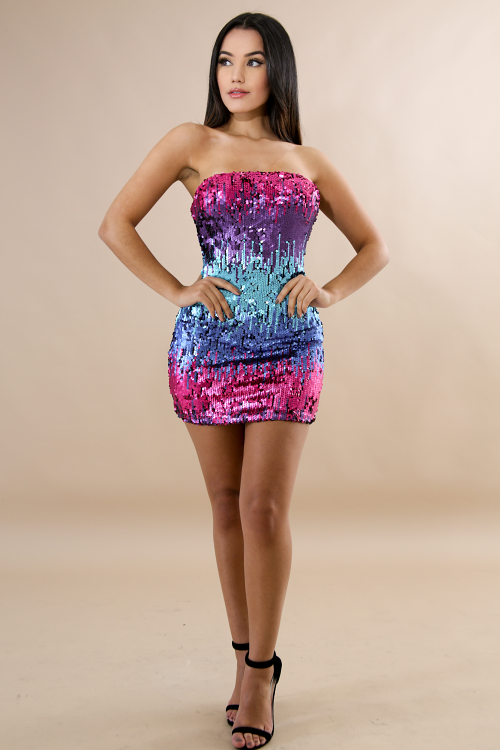 Sequin Color Palette Mini Dress