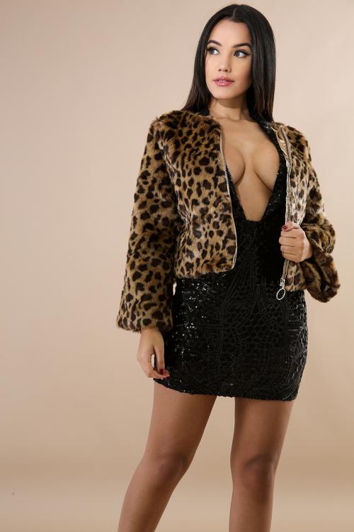Cheetah Bomber Faux Fur Coat