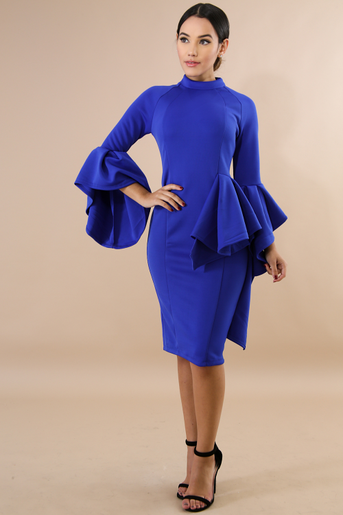 Wide Bell Sleeves Body-Con Dress