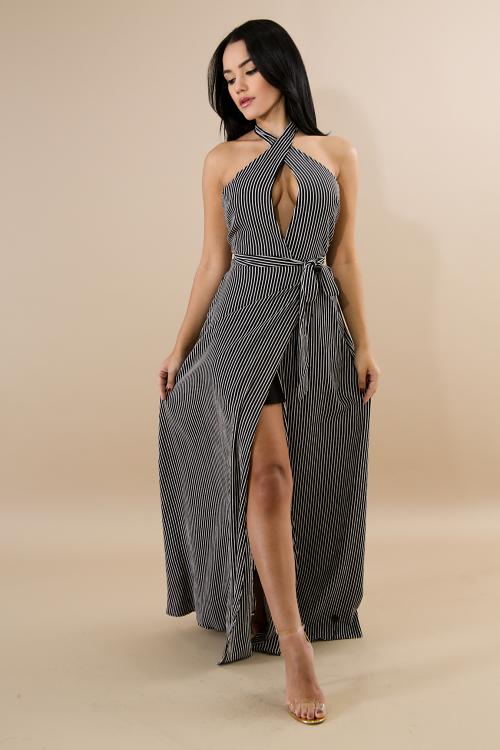 Striped Flare Maxi Dress