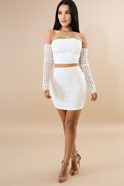 Corset Back Checkered Skirt Set