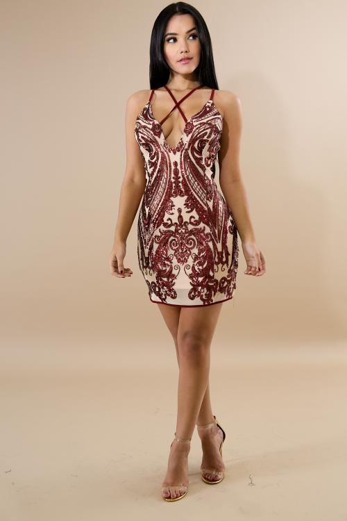 Sequin Sheer Mesh Mini Dress