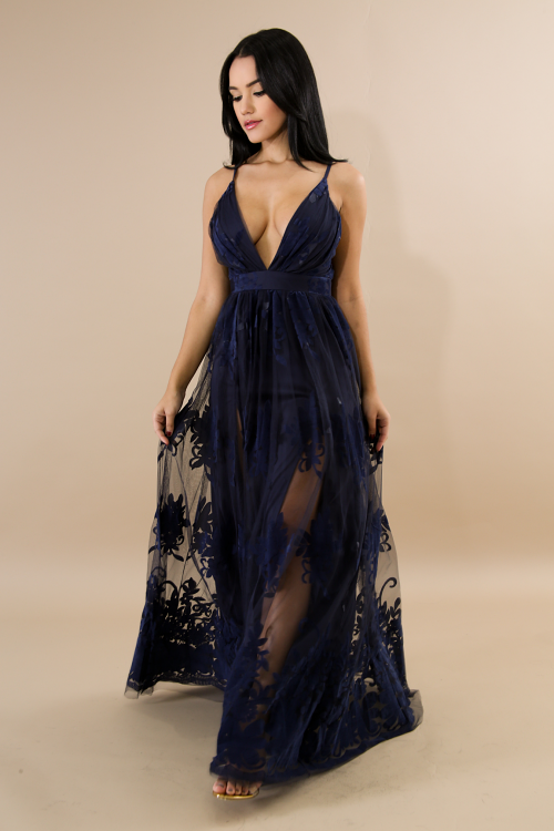 Suede Lace Maxi Dress