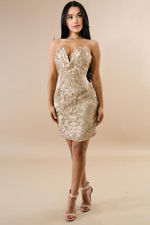 Tube Sequin Slit Body-Con Dress