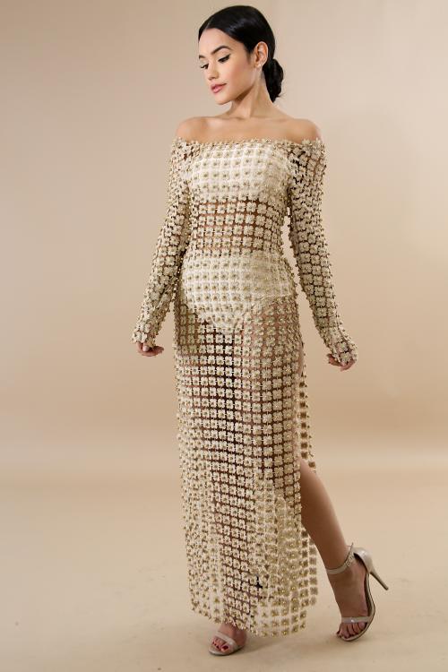 Pearl  Flakes Slit Dress