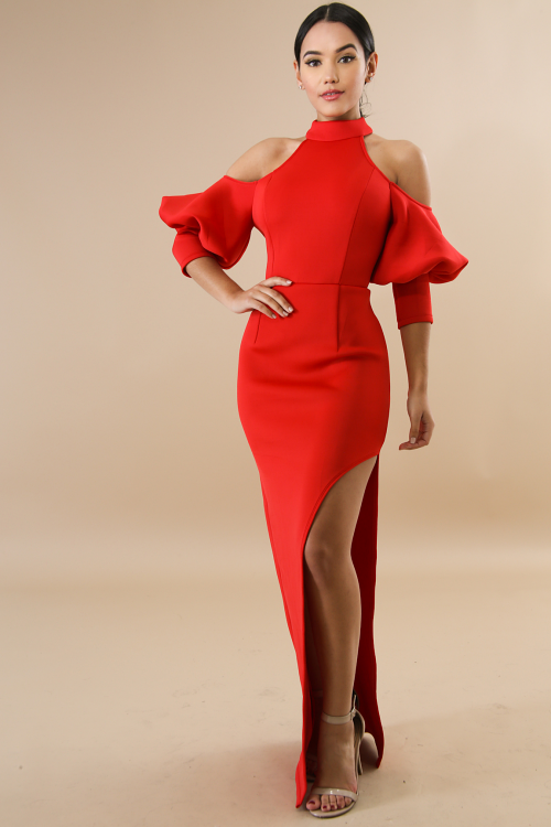 Puff Sleeves Body-Con Dress