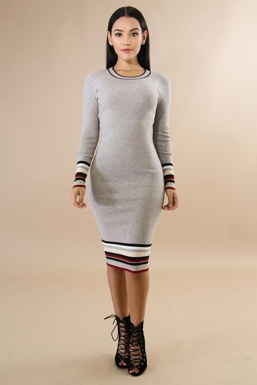 Multi print Color Long Sleeve Midi Dress