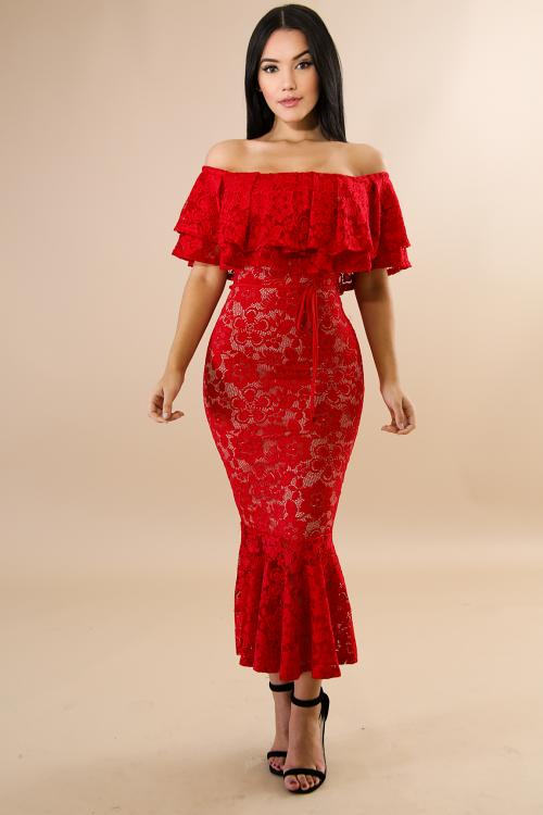 Floral Elegance Romance Off Shoulder Dress