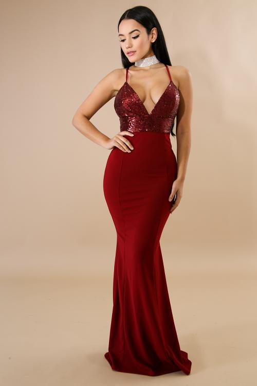 Sequin Elegance Glam Maxi Dress